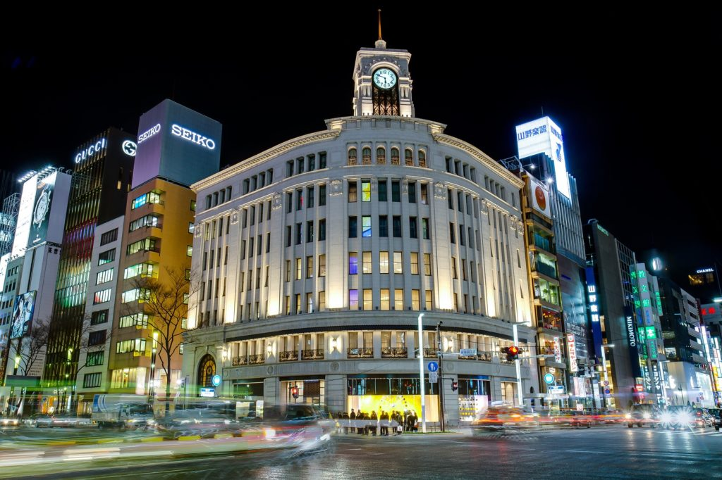 Ginza in Tokyo at night