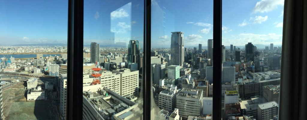 Skyline of Osakafrom a skyscraper.