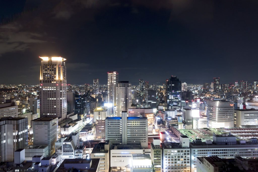 A view over Osaka at night