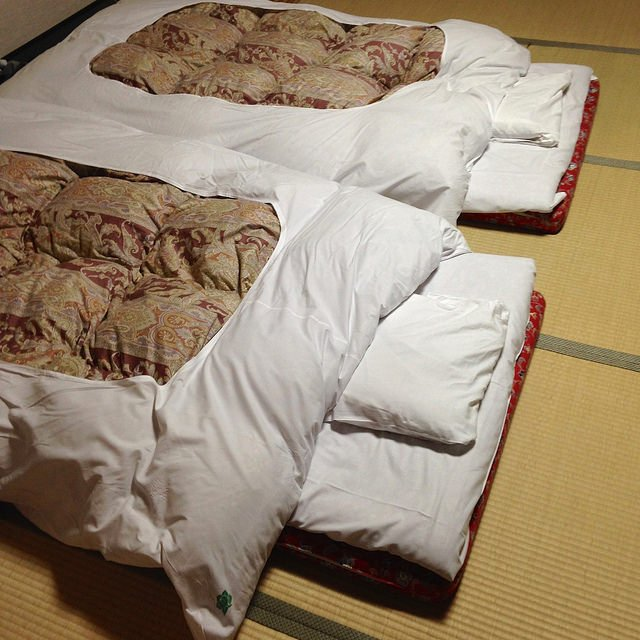 Sleeping on a Futon is quite common in Ryokans.