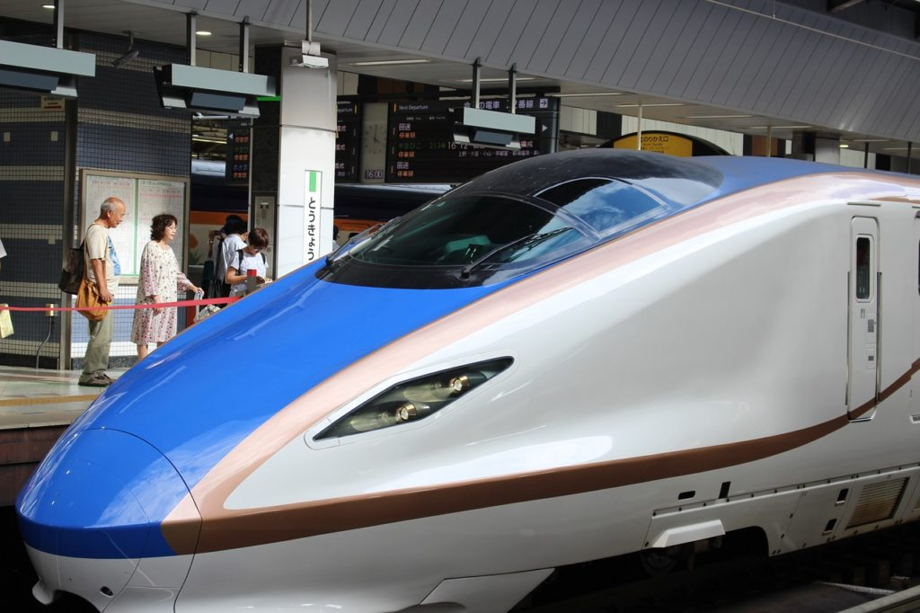 The fast Shinkansen train in Japan