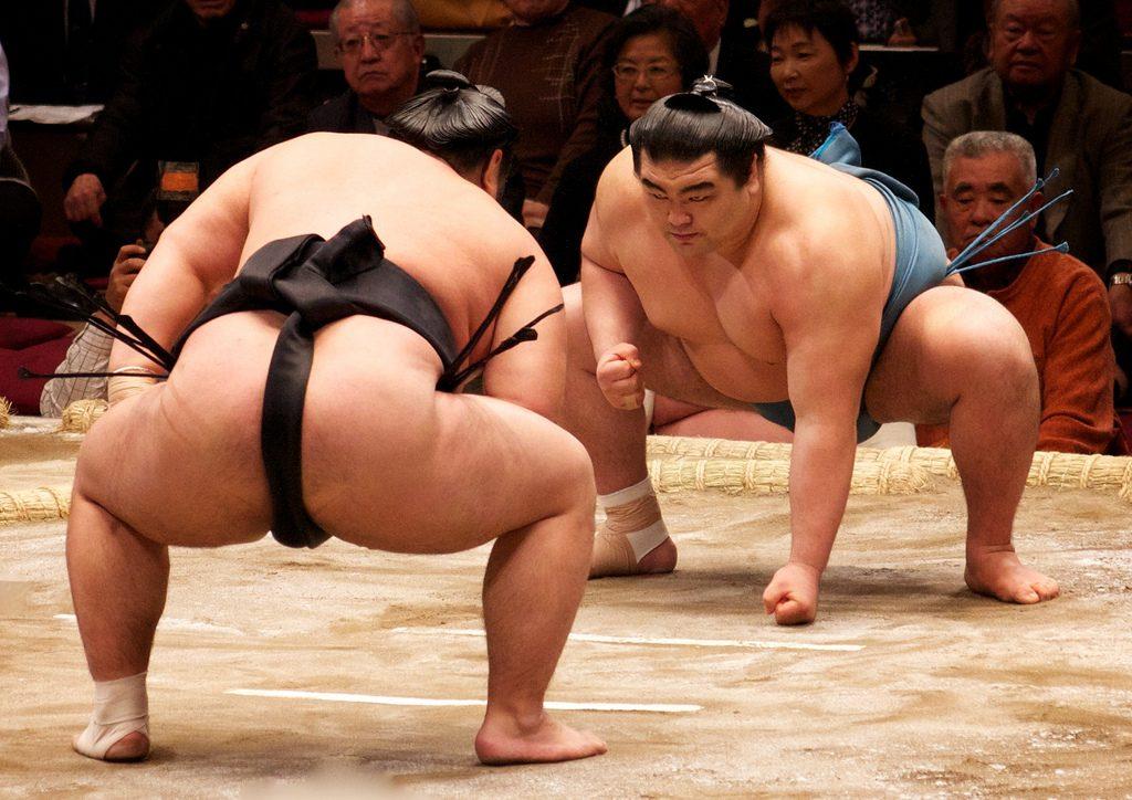 Sumo practice in Tokyo.
