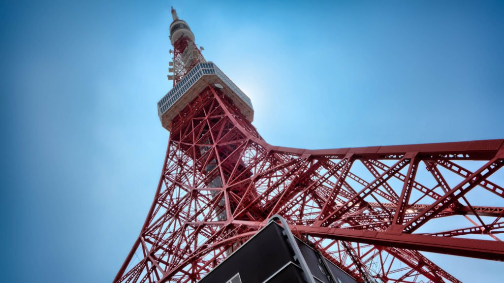 The Tokyo Tower which dominates the skyline of the Minato District