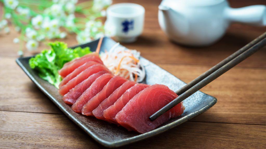 Eating Sashimi in Japan